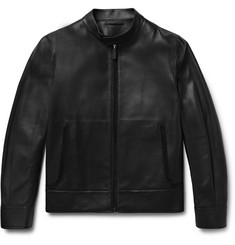 Berluti Suede-Trimmed Leather Biker Jacket