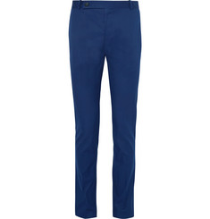 Berluti Blue Slim-Fit Nubuck-Trimmed Cotton and Cashmere-Blend Twill Trousers