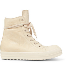 Rick Owens Cap-Toe Leather High-Top Sneakers
