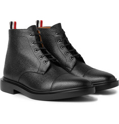 Thom Browne - Cap-Toe Pebble-Grain Leather Boots