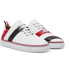 Thom Browne - Striped Pebble-Grain Leather Sneakers