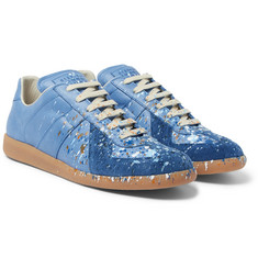 Maison Margiela Replica Paint-Splattered Suede and Leather Sneakers