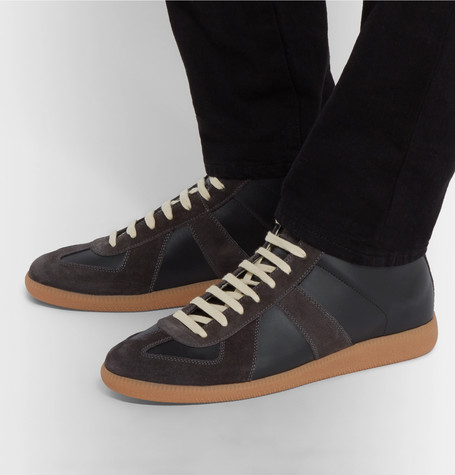 Replica Suede And Leather High-top Sneakers - Black
