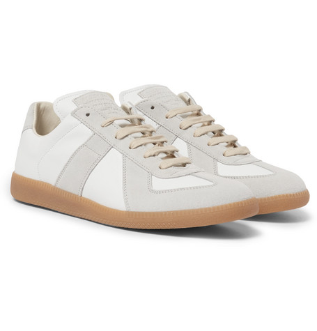 Replica Suede And Leather Sneakers - White