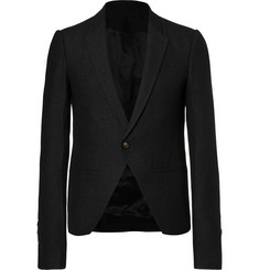 Rick Owens Black Slim-Fit Cropped Baby Alpaca and Wool-Blend Blazer