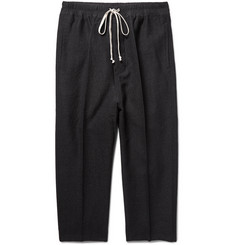 Rick Owens Astaires Cropped Slim-Fit Woven Drawstring Trousers