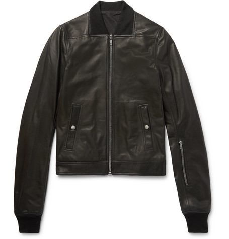 Stone-washed Leather Bomber Jacket - Black