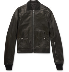 Rick Owens Stone-Washed Leather Bomber Jacket