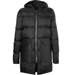 Rick Owens Leather-Trimmed Quilted Shell Down Jacket