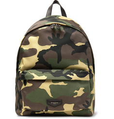 Givenchy - Leather-Trimmed Camouflage-Print Canvas Backpack