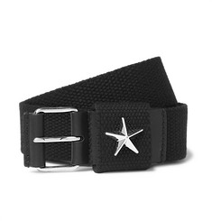 Givenchy Star-Embellished Leather-Trimmed Canvas Belt