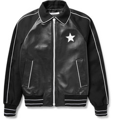 Givenchy Satin-Trimmed Leather and Wool-Twill Bomber Jacket