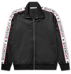 Givenchy Rubber-Appliquéd Satin-Jersey Track Jacket