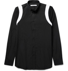 Givenchy - Slim-Fit Ribbed Knit-Panelled Cotton-Poplin Shirt