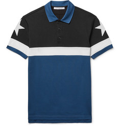 Givenchy Cuban-Fit Star-Appliquéd Colour-Block Cotton-Piqué Polo Shirt