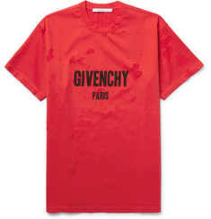 Givenchy - Columbian-Fit Distressed Cotton-Jersey T-Shirt