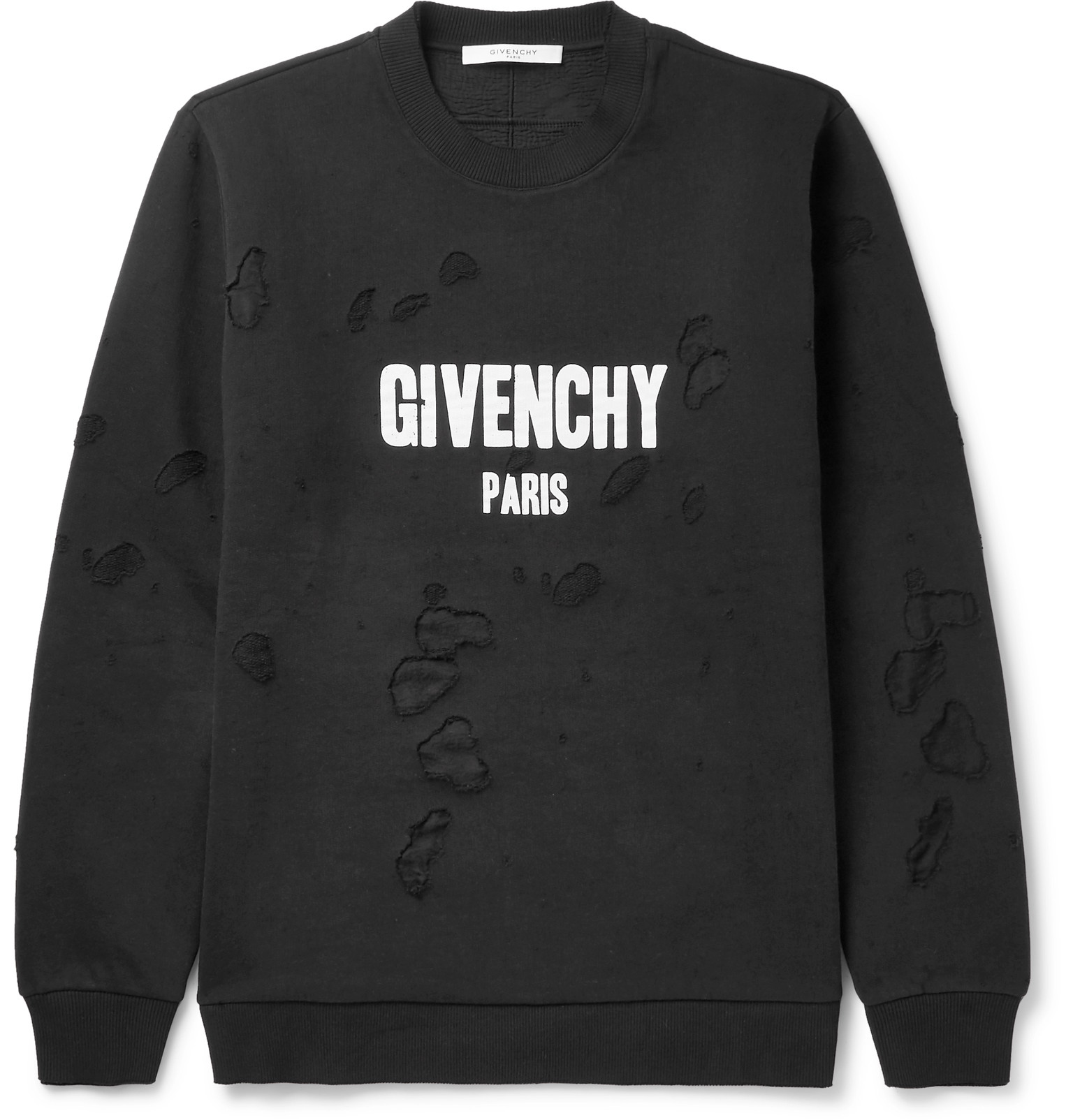 Givenchy Cuban Fit Printed Distressed Cotton Jersey Sweatshirt