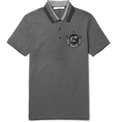 Givenchy Monkey Brothers Appliquéd Cotton-Piqué Polo Shirt