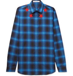 Givenchy - Cuban-Fit Star-Appliquéd Checked Brushed-Twill Shirt