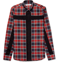 Givenchy - Slim-Fit Button-Down Collar Panelled Checked Cotton-Twill Shirt