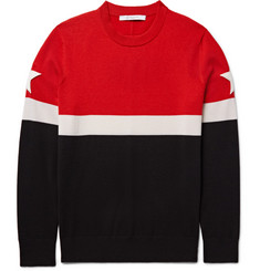 Givenchy Star-Appliquéd Colour-Block Wool-Blend Sweater