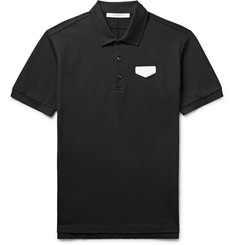 Givenchy Antigona Slim-Fit Leather-Appliquéd Cotton-Piqué Polo Shirt