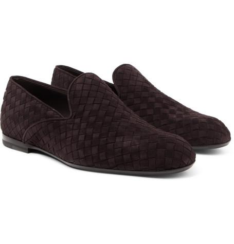 Intrecciato Suede Slippers - Brown