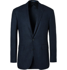 Polo Ralph Lauren Blue Slim-Fit Houndstooth Wool Blazer