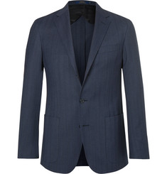 Polo Ralph Lauren Blue Morgan Yale Herringbone Wool and Cotton-Blend Blazer