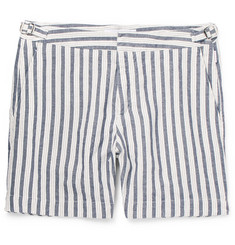 Orlebar Brown Bulldog Slim-Fit Striped Cotton and Linen-Blend Shorts