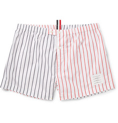Thom Browne Two-Tone Striped Cotton-Poplin Boxer Shorts