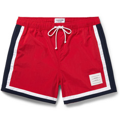 Thom Browne Mid-Length Stripe-Trimmed Swim Shorts