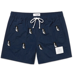 Thom Browne Mid-Length Penguin-Embroidered Swim Shorts