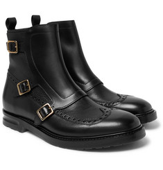 Alexander McQueen - Leather Monk-Strap Wingtip Commando Boots