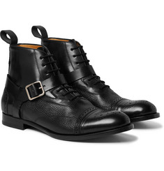 Alexander McQueen - Panelled Leather Harness Brogue Boots