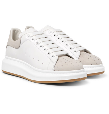 Larry Exaggerated-sole Leather And Perforated Suede Sneakers - White