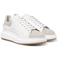 Alexander McQueen - Exaggerated-Sole Leather and Perforated Suede Sneakers