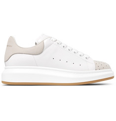 Alexander McQueen Exaggerated-Sole Leather and Perforated Suede Sneakers