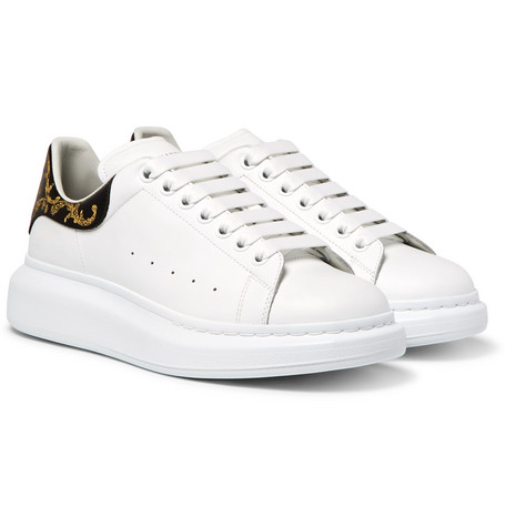 Larry Exaggerated-sole Embossed Leather Sneakers - White