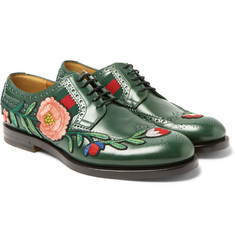 Gucci Appliquéd Leather Wingtip Brogues