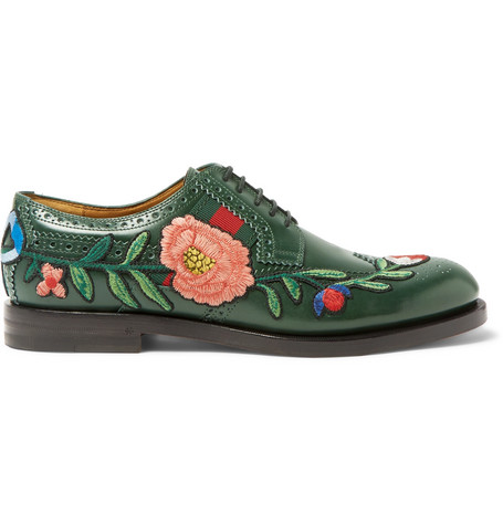 Gucci AppliquÉD Leather Wingtip Brogues In Green