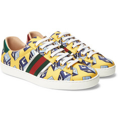 Gucci - Ace Metallic Leather-Trimmed Printed Satin Sneakers