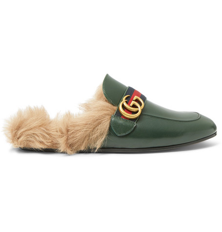Gucci Princetown Webbing-Trimmed Shearling-Lined Leather Backless Loafers In Green
