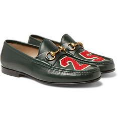 Gucci - Roos Horsebit Appliquéd Leather Loafers