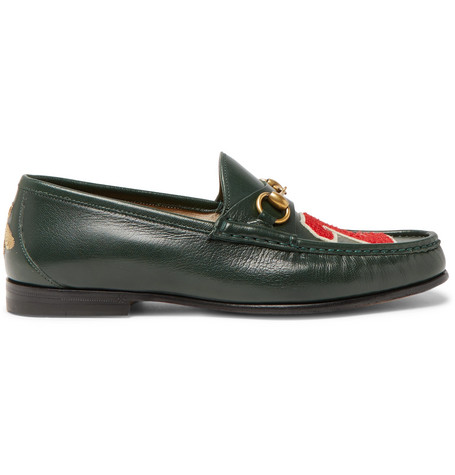 Gucci Roos Horsebit AppliquÉD Leather Loafers In Dark Green