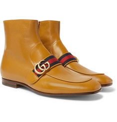 Gucci - Donnie Webbing-Trimmed Leather Chelsea Boots