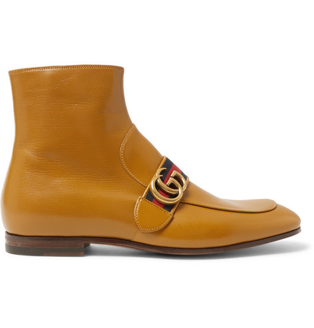 Gucci Donnie Webbing-Trimmed Leather Chelsea Boots In Yellow