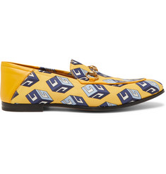 Gucci Brixton Horsebit Leather-Trimmed Printed-Satin Loafers