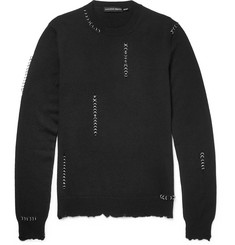 Alexander McQueen Slim-Fit Embellished Distressed Wool and Silk-Blend Sweater