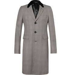 Alexander McQueen Velvet-Trimmed Prince Of Wales Checked Wool Coat